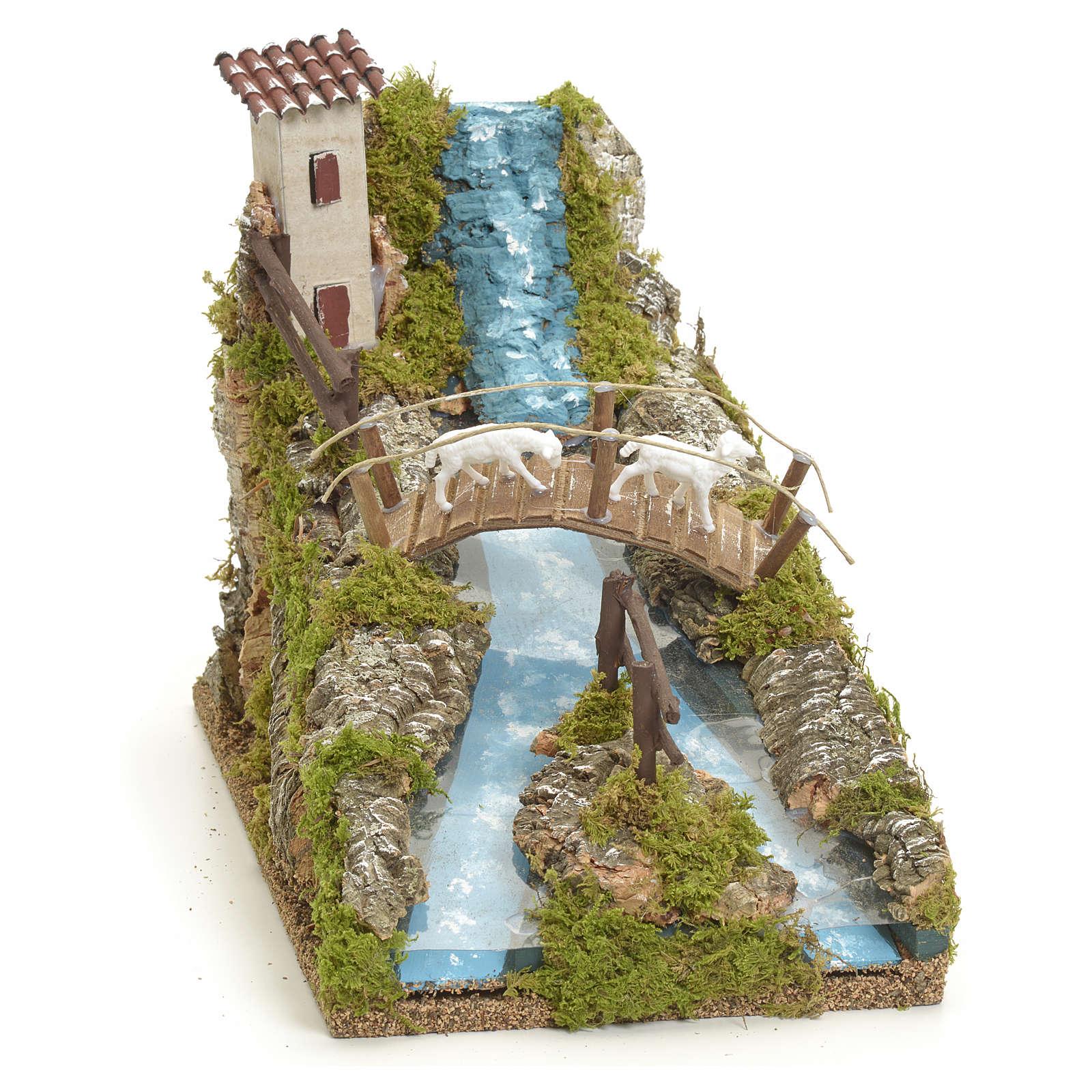 Rivière de montagne pour crèche avec pont et brebi 4