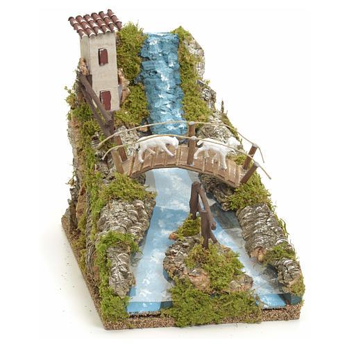Rivière de montagne pour crèche avec pont et brebi 1