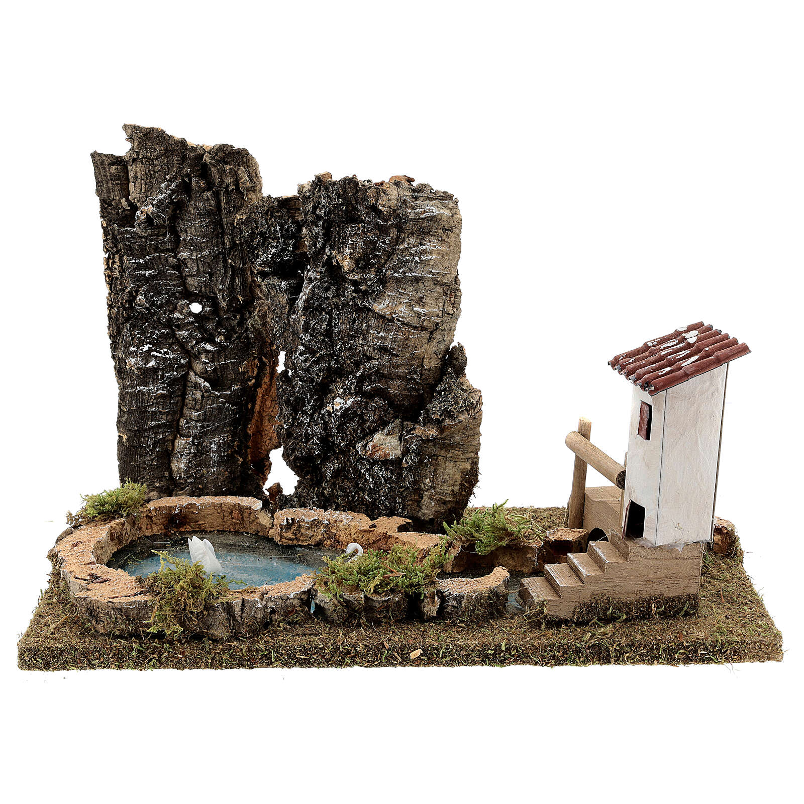 Nativity setting, pond with rocks and swans 4