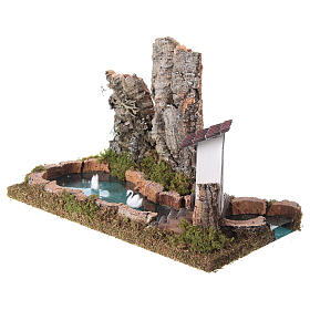 Nativity setting, pond with rocks and swans s2