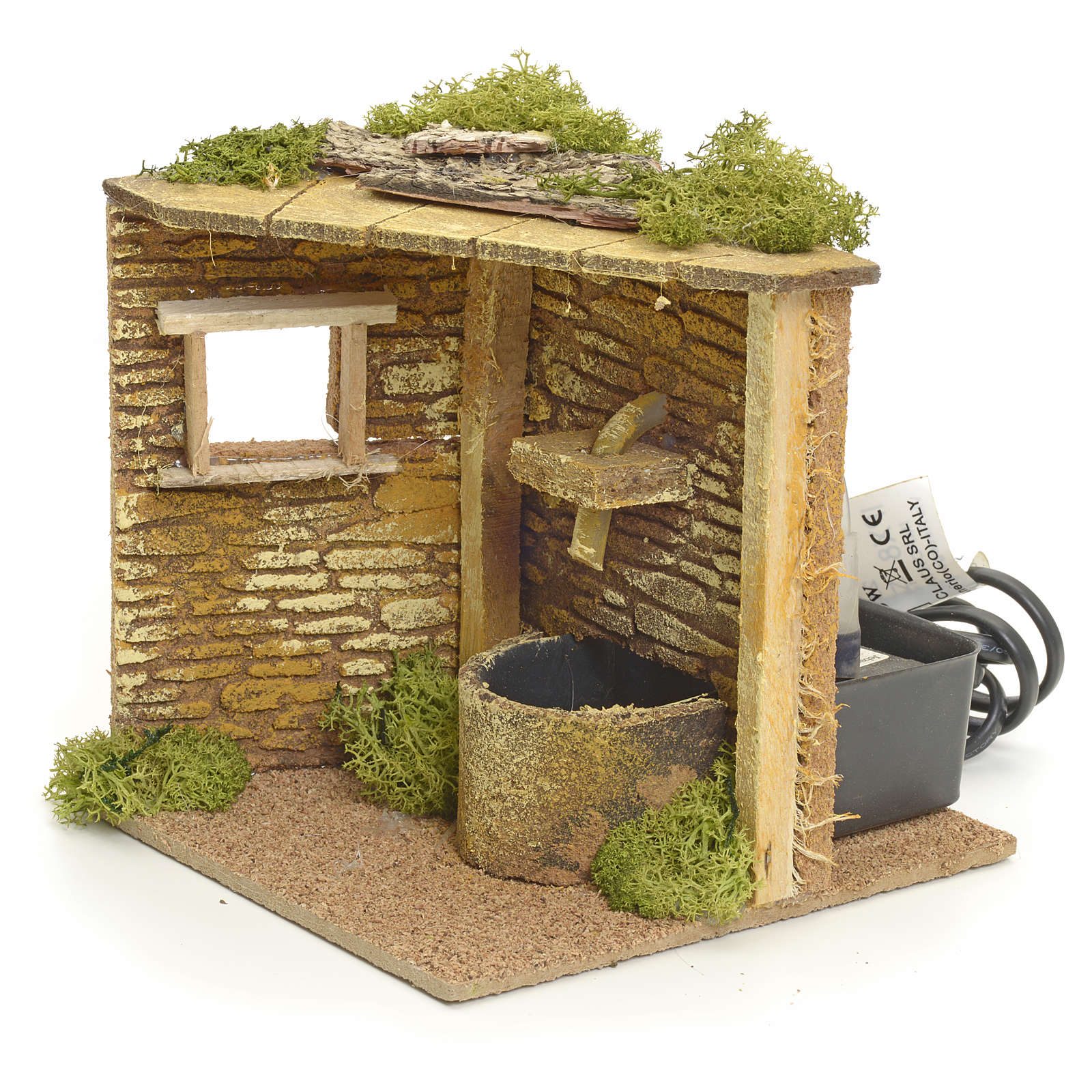 Angolo casa con fontana elettrica per presepe 4