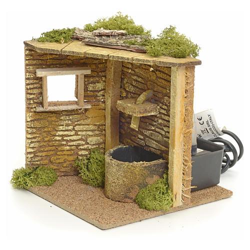 Angolo casa con fontana elettrica per presepe 2