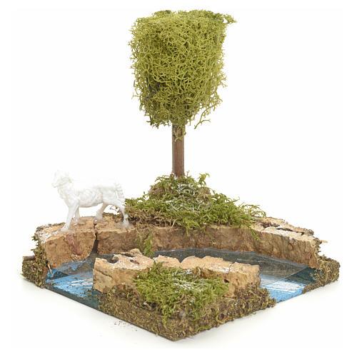 Curva di fiume con albero e pecora: ambiente presepe 2