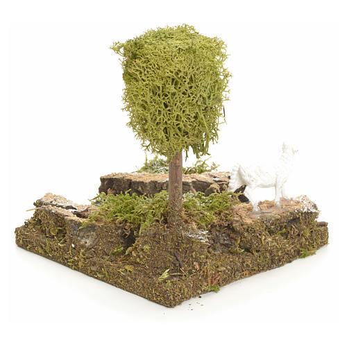 Curva di fiume con albero e pecora: ambiente presepe 3