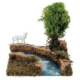 Curva de rio com árvore e ovelha cenário presépio s1