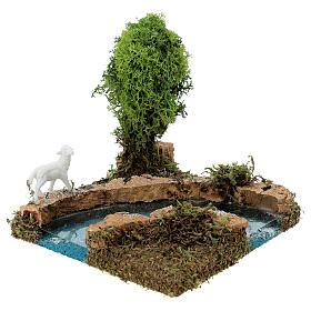 Curva de rio com árvore e ovelha cenário presépio s4