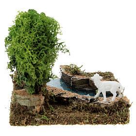 Curva de rio com árvore e ovelha cenário presépio s5