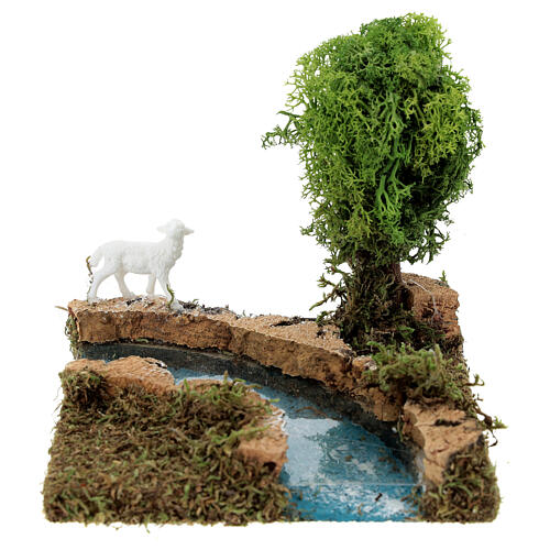 Curva de rio com árvore e ovelha cenário presépio 1