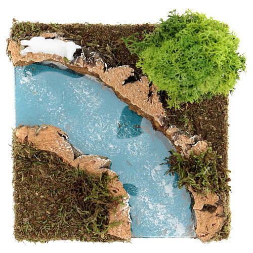 Curva de rio com árvore e ovelha cenário presépio 2