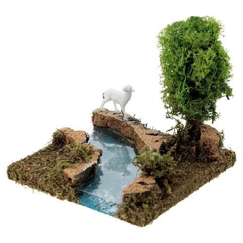 Curva de rio com árvore e ovelha cenário presépio 3