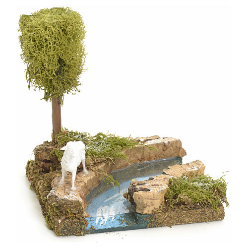 Nativity setting, river turn with tree and sheep 1
