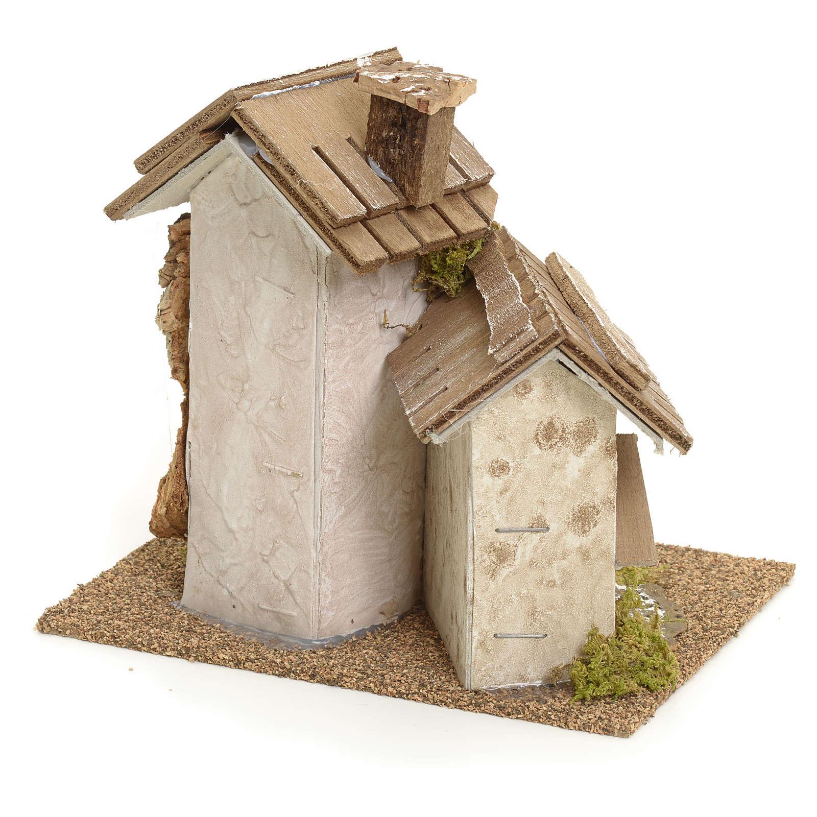 Décor pour crèche, maisons rustiques 14x15x14 4