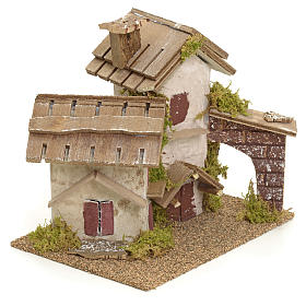 Décor pour crèche, maisons rustiques 14x15x14 s2