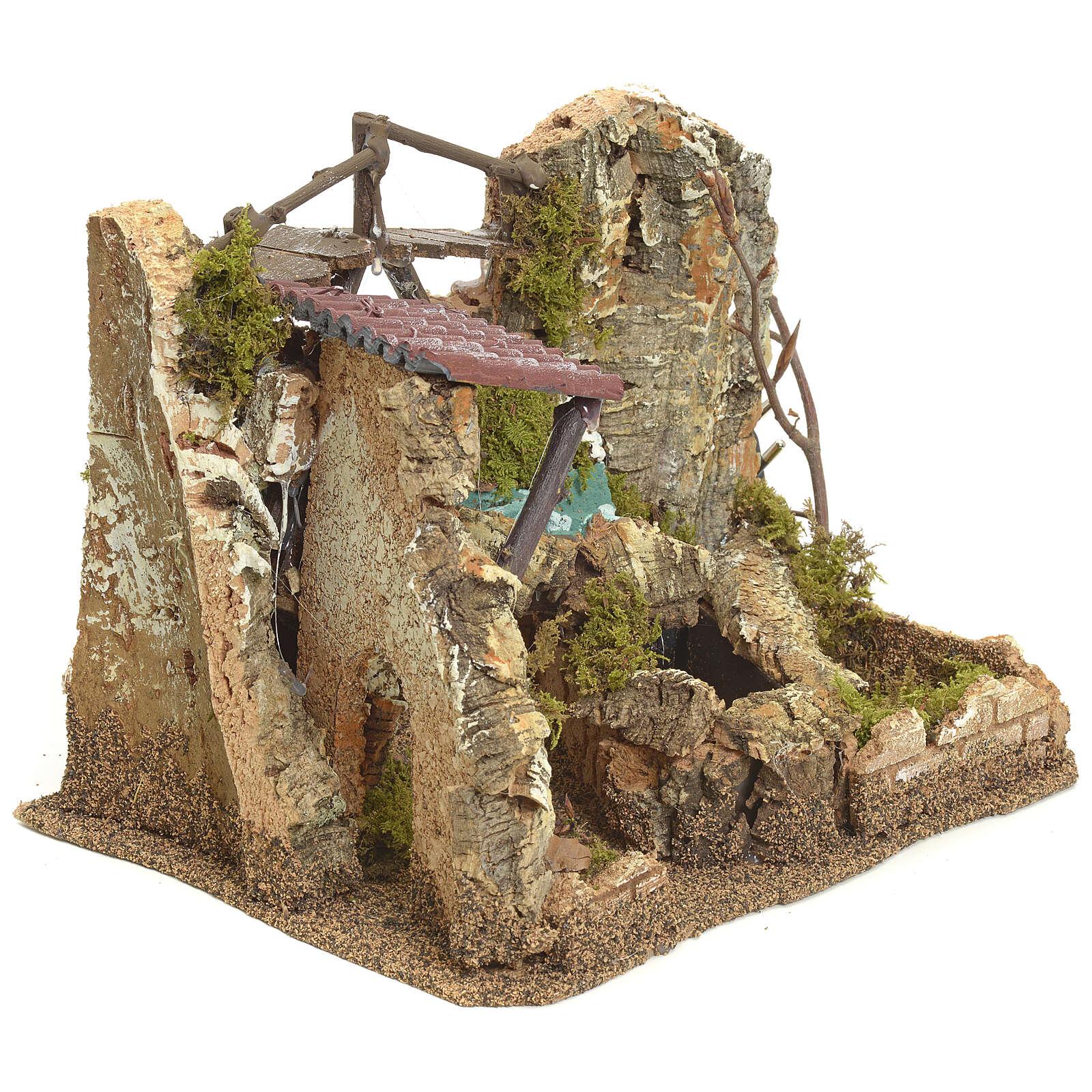 Cascata elettrica in ambiente di roccia per presepe 4