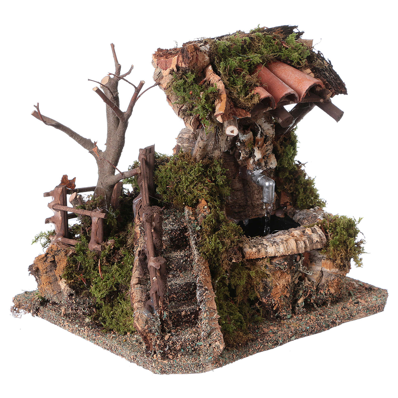 Nativity setting, fountain in the rocks with roofing 4