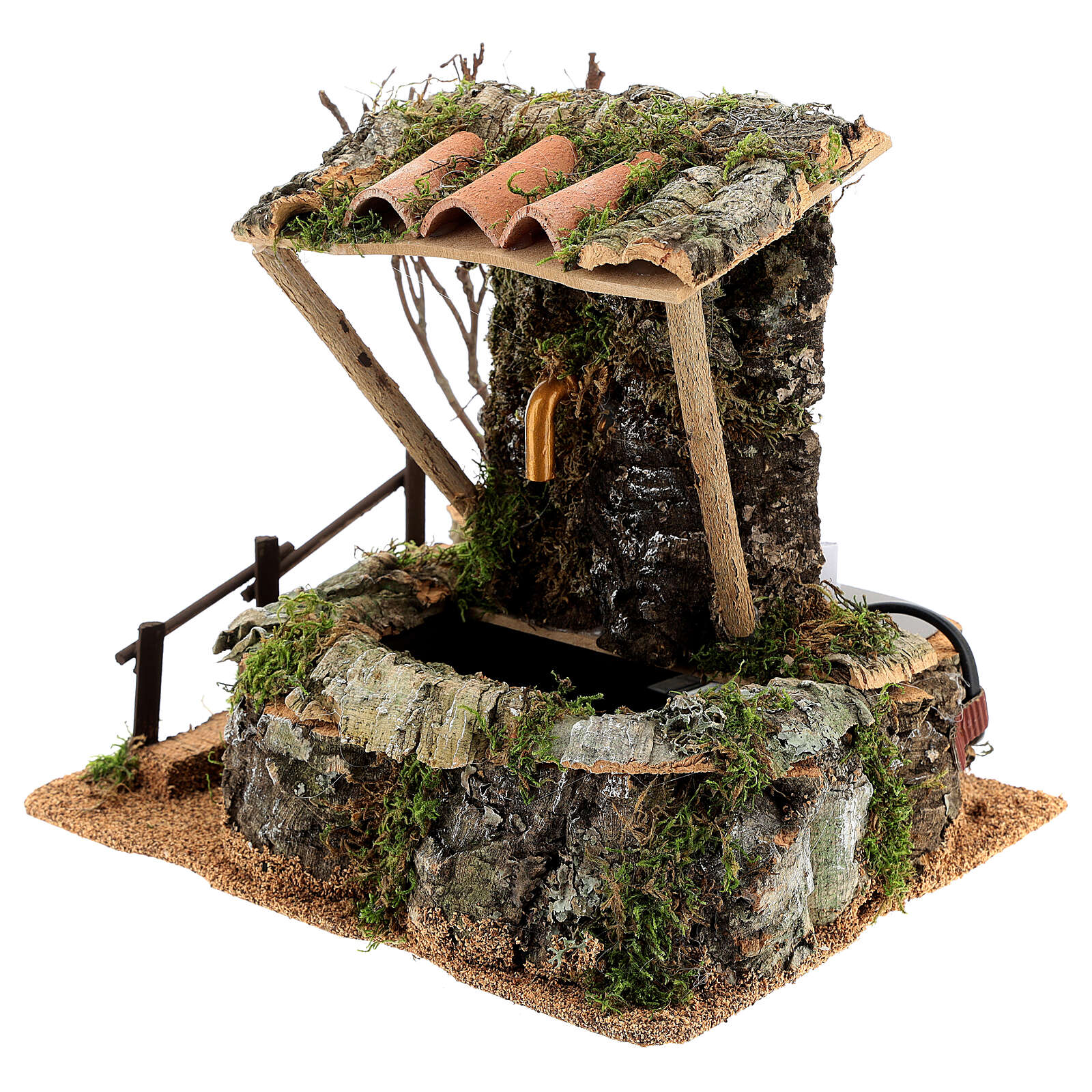 Fuente en la roca con techo para belén 4