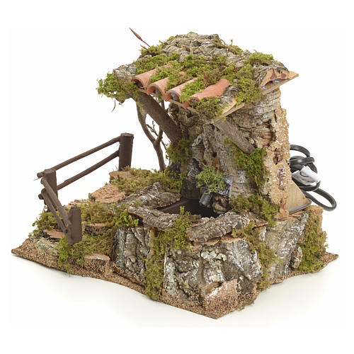 Fuente en la roca con techo para belén 3