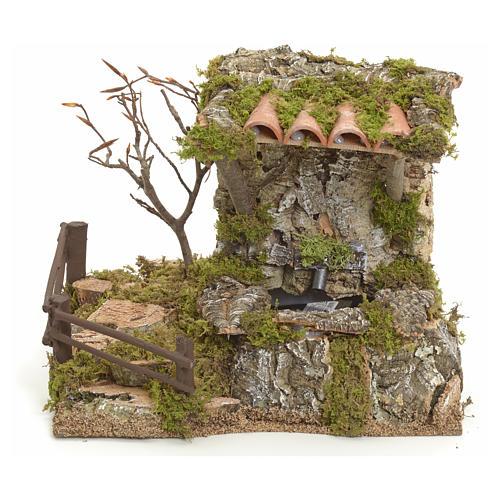 Fontaine dans la roche avec toit pour crèche 1