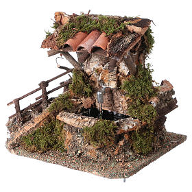 Nativity setting, fountain in the rocks with roofing s3