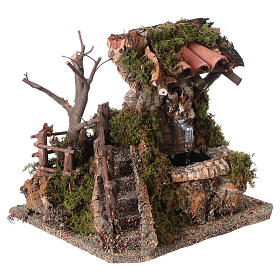 Nativity setting, fountain in the rocks with roofing s4