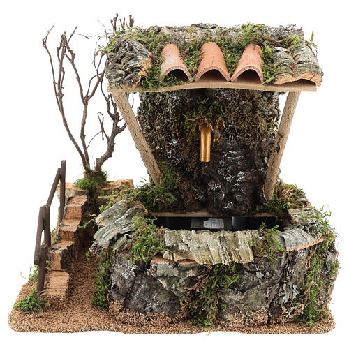 Nativity setting, fountain in the rocks with roofing 1