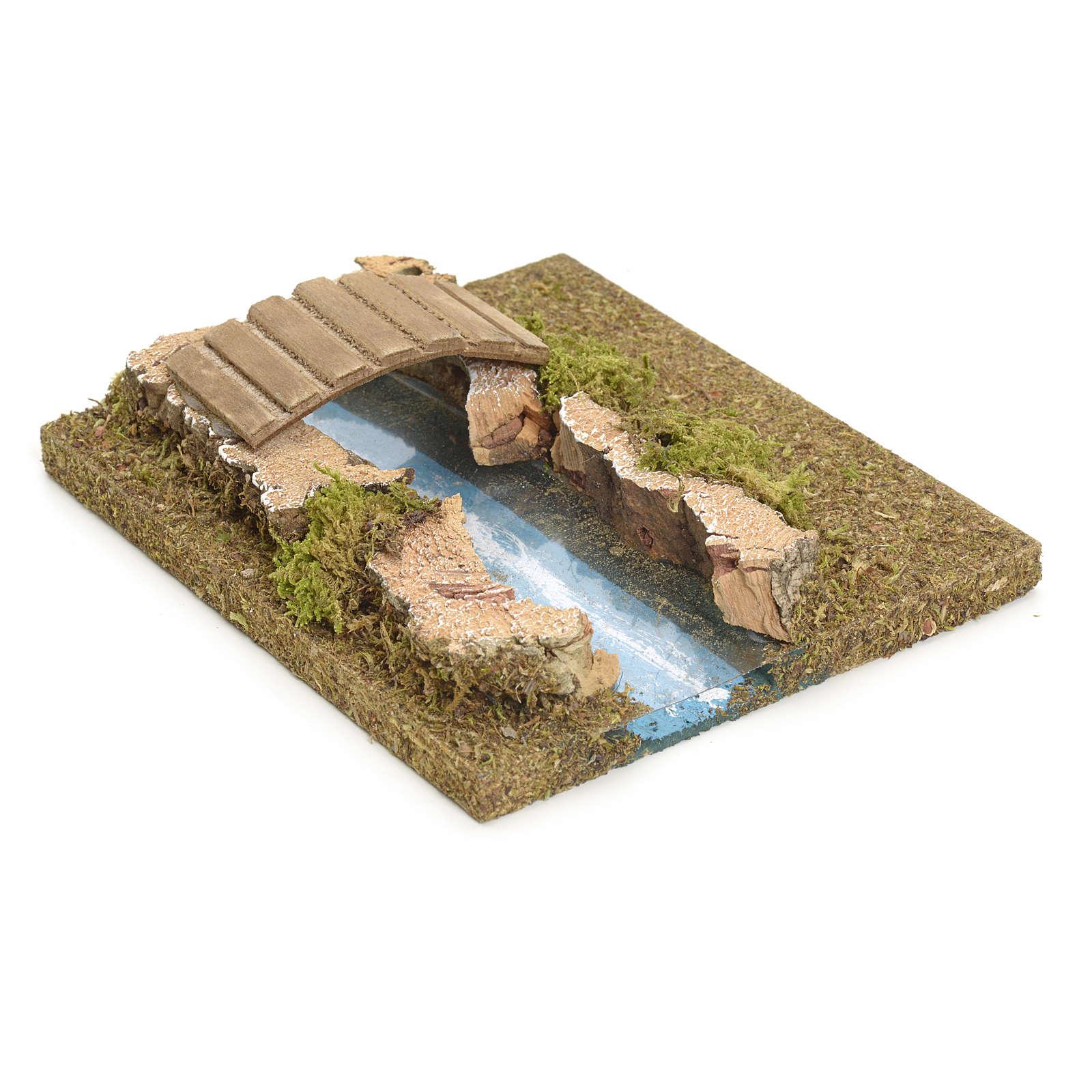 Nativity setting, modular river in cork, small bridge 4
