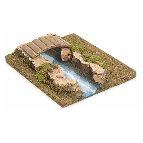 Nativity setting, modular river in cork, small bridge 2