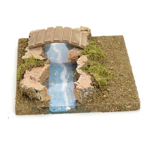 Nativity setting, modular river in cork, small bridge 1