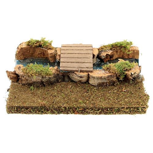 Nativity setting, modular river in cork, small bridge 3