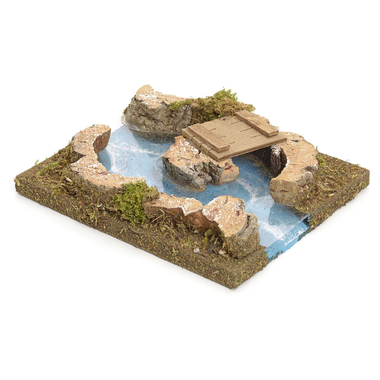 Rivière avec îlot et petit pont pour crèche 4