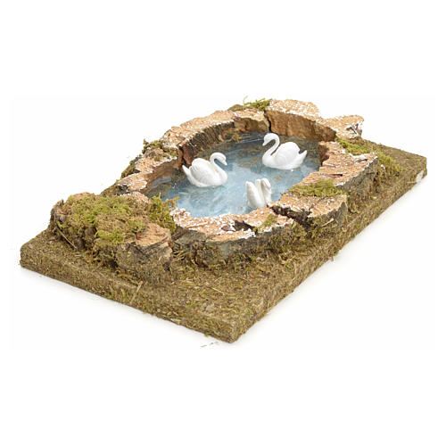 Nativity setting, pond with swans 20x13cm 2