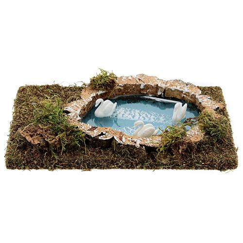 Mini lac avec cygnes pour crèche 20x13 1