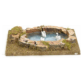 Nativity setting, pond with swans 20x13cm s1