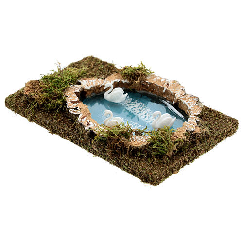 Nativity setting, pond with swans 20x13cm 2