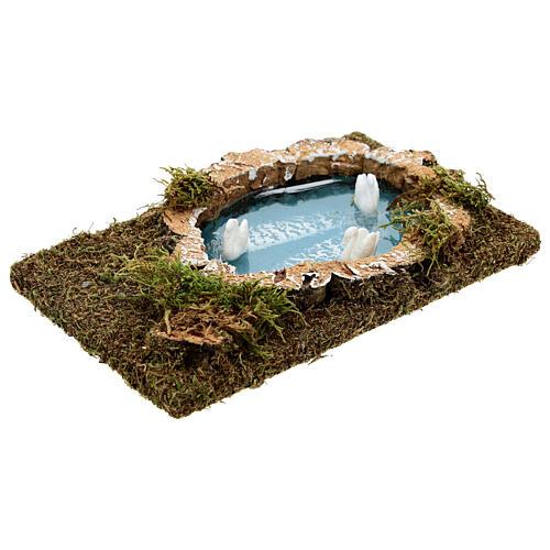 Nativity setting, pond with swans 20x13cm 3