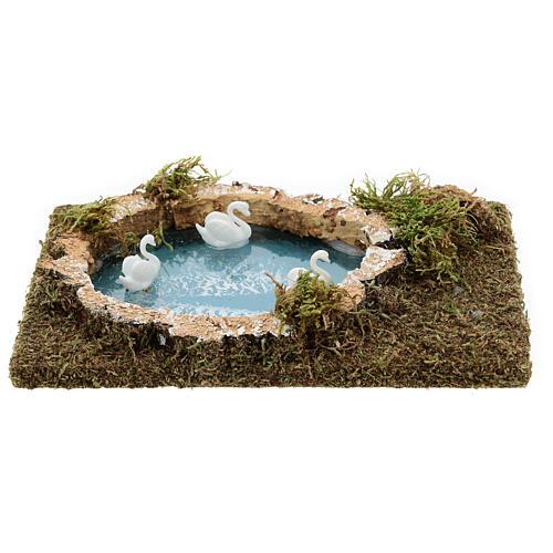 Nativity setting, pond with swans 20x13cm 4