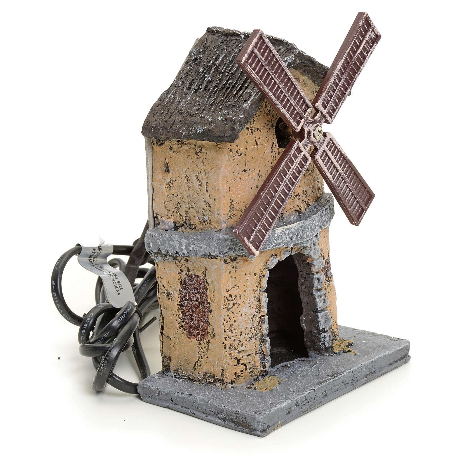 Moulin à vent en résine pour crèche 16x11x6 4