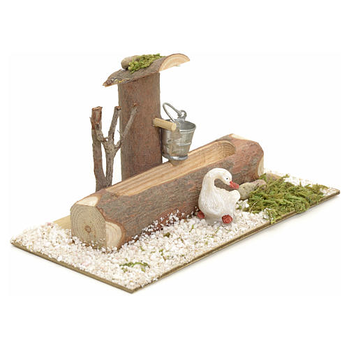 Nativity setting, fountain in the log 2