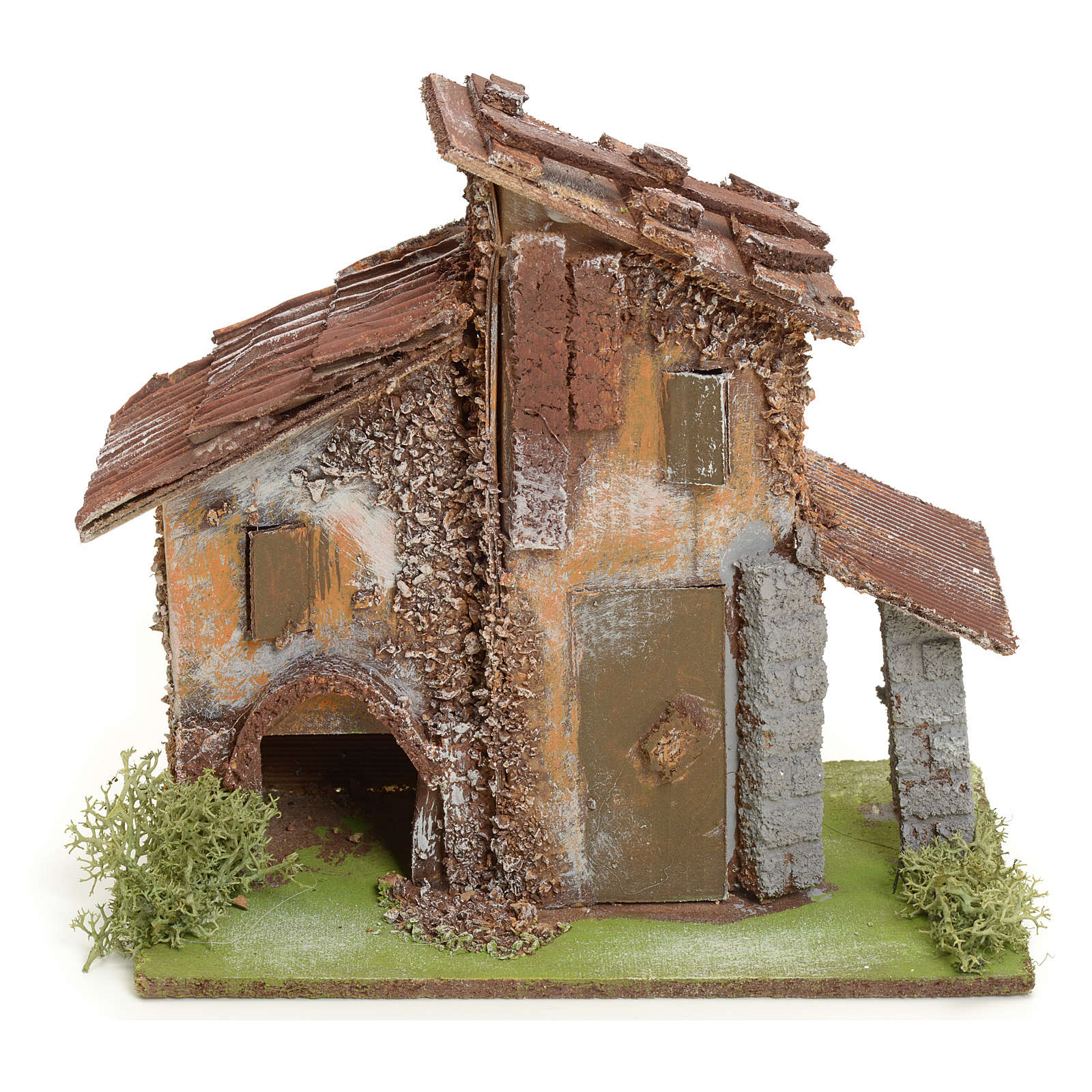 Nativity setting, rustic house in wood 4