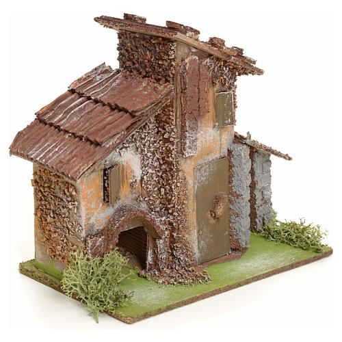 Nativity setting, rustic house in wood 2