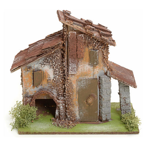Nativity setting, rustic house in wood 1