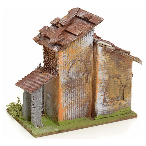 Nativity setting, rustic house in wood 3