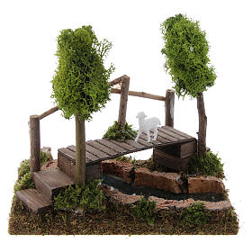 Bridges, streams and fences for Nativity scene: Nativity setting, river with bridge and lichen trees