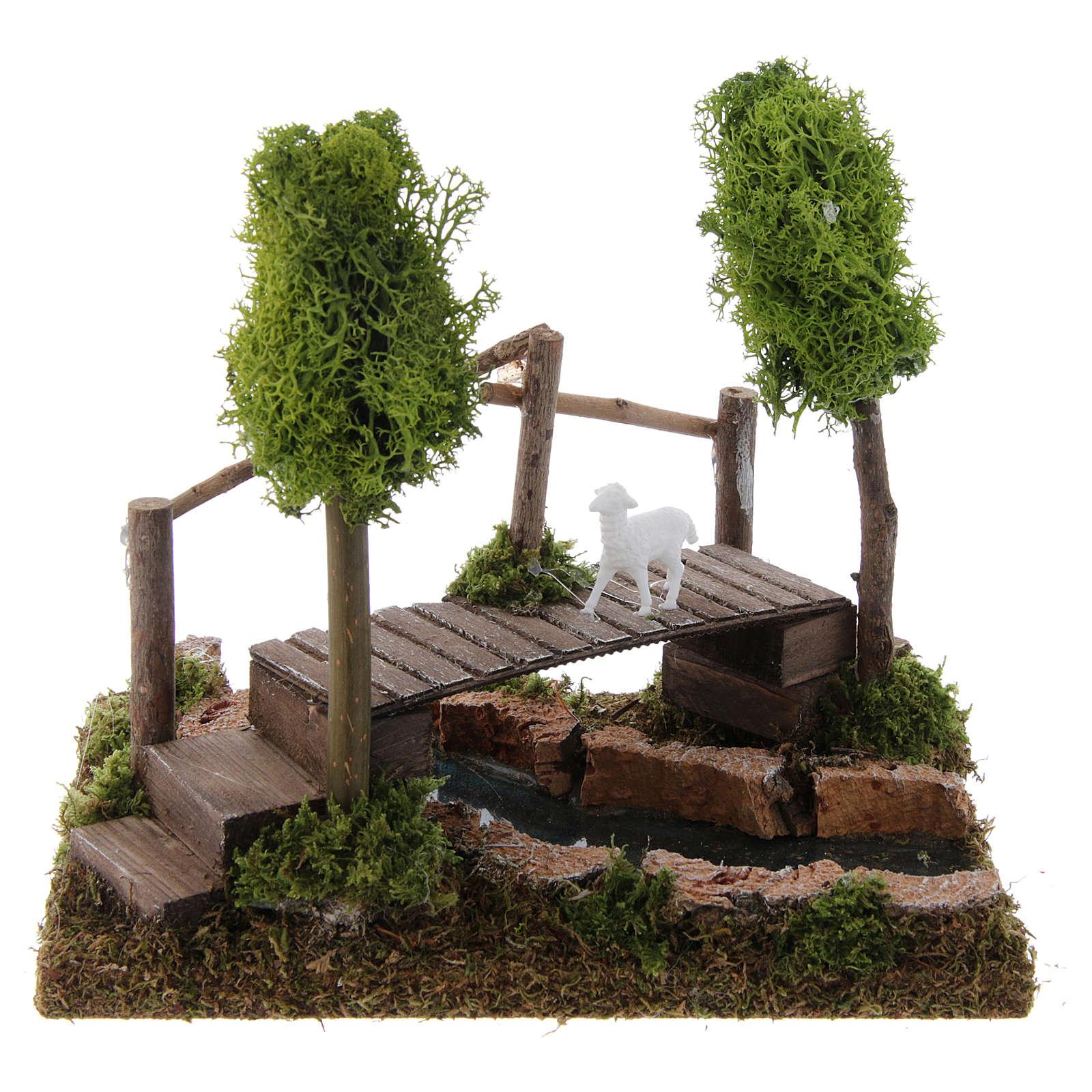 Nativity setting, river with bridge and lichen trees 4