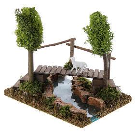 Nativity setting, river with bridge and lichen trees s2