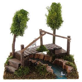 Nativity setting, river with bridge and lichen trees s4