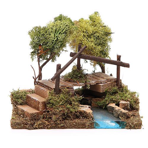 Nativity setting, river with bridge and lichen trees 1