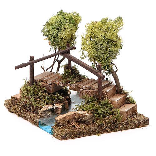 Nativity setting, river with bridge and lichen trees 2