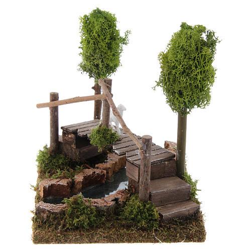 Nativity setting, river with bridge and lichen trees 3