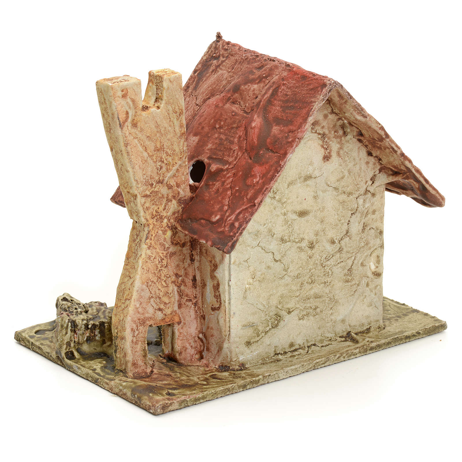 Nativity setting, house with small tower in stuccoed wood 4